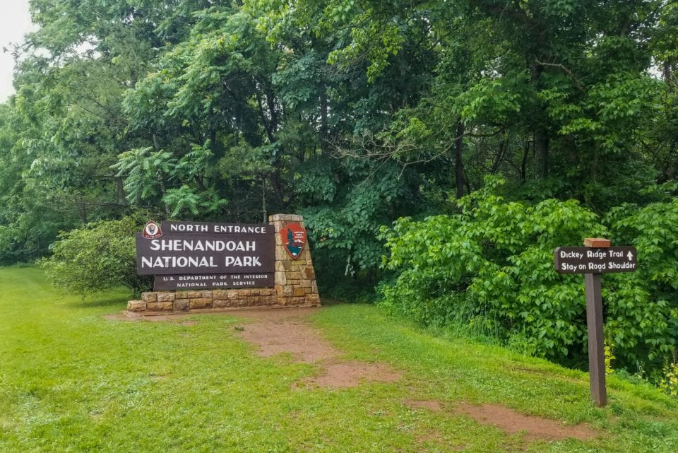 Shenandoah National Park North Entrance Sign