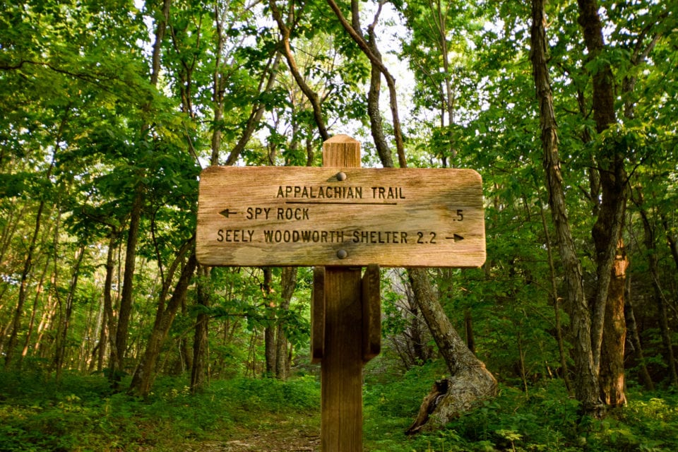 Spy Rock sign on the Appalachian Trail