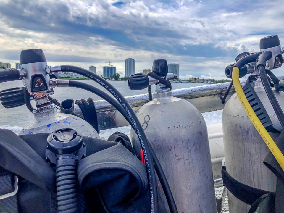 Diving Singer Island Florida - Scuba Tanks with City in Background (via Janiel@culturetrekking)