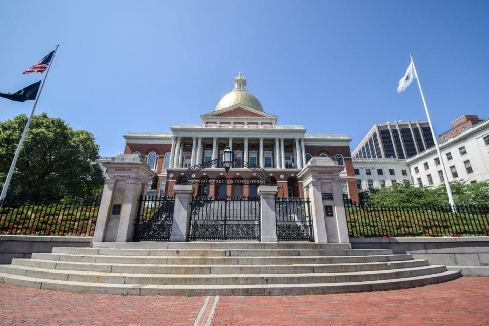 Massachusetts State House front steps