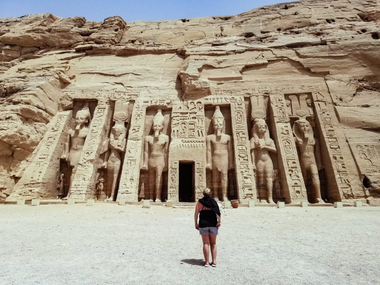 The author standing in front of Abu Simbel
