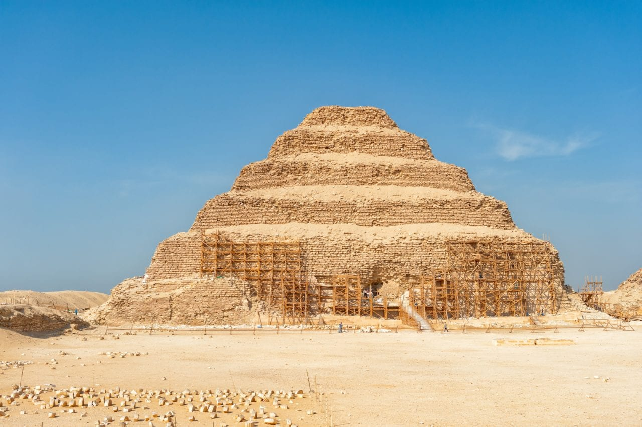 Step Pyramid of Djoser via Canva to show the first true pyramid in Egypt