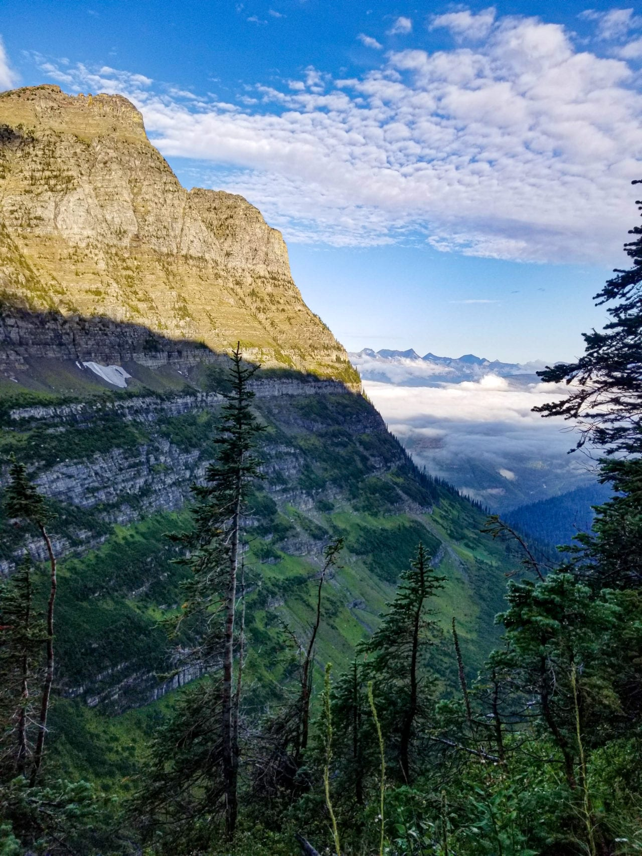 Clouds filling the valley in Glacier National Park