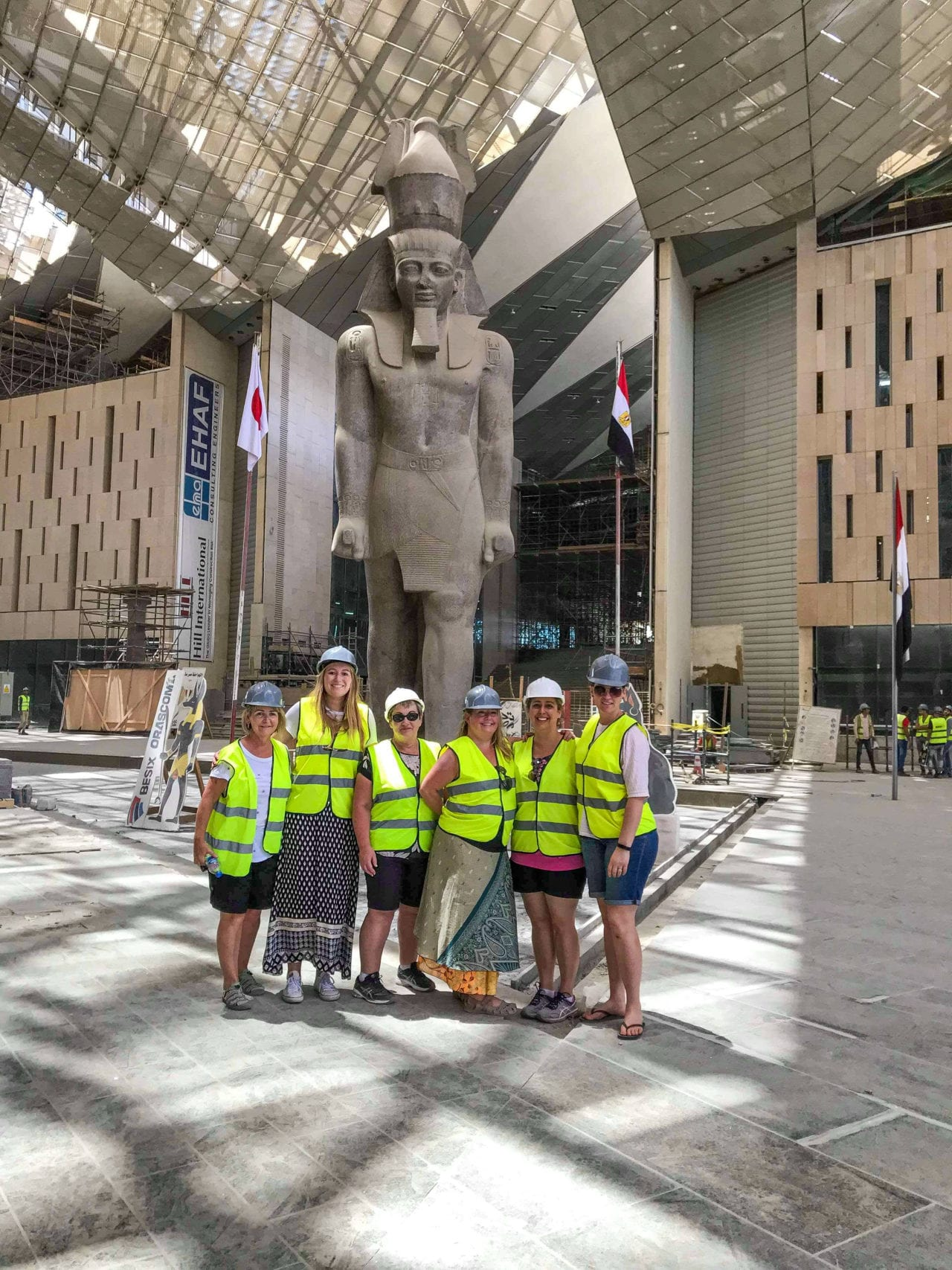 Group shot  inside the Grand Egyptian Museum