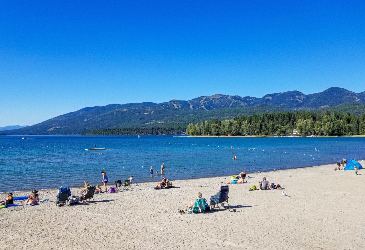 Summer scene at City Beach, Whitefish Montana