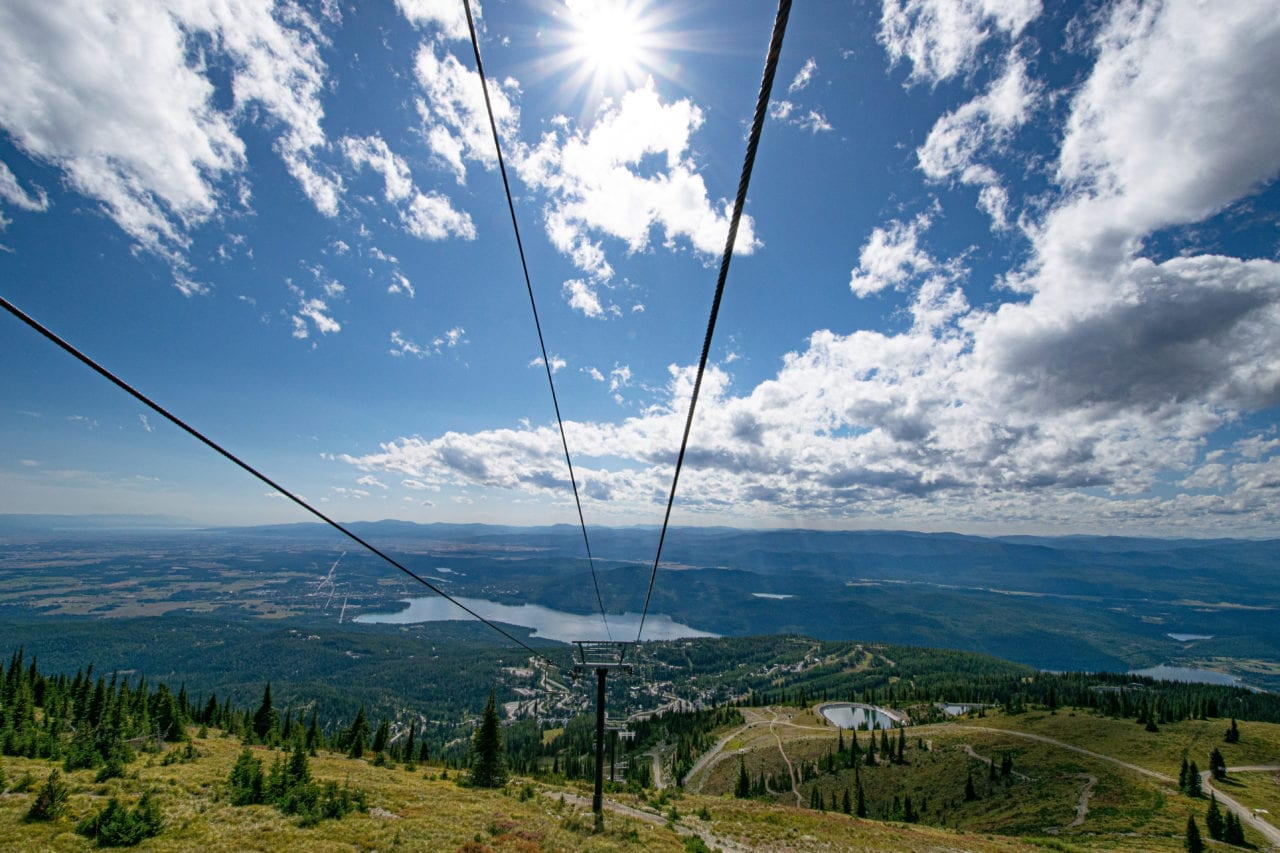 View from the chairlift at Whitefish Mountain Resort in the summer