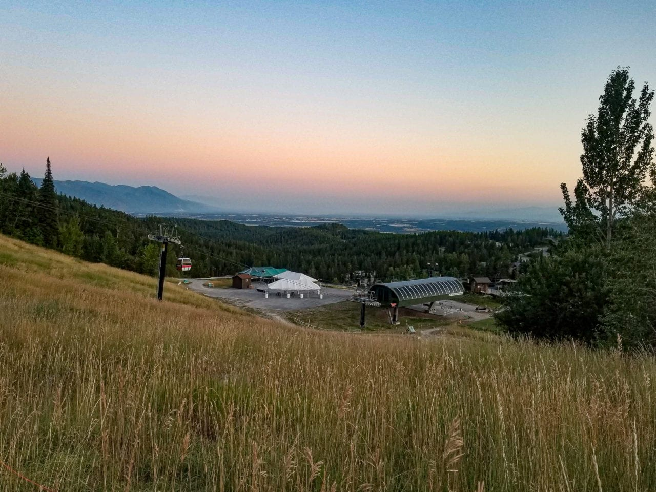 Whitefish Mountain Resort on a late summer sunset