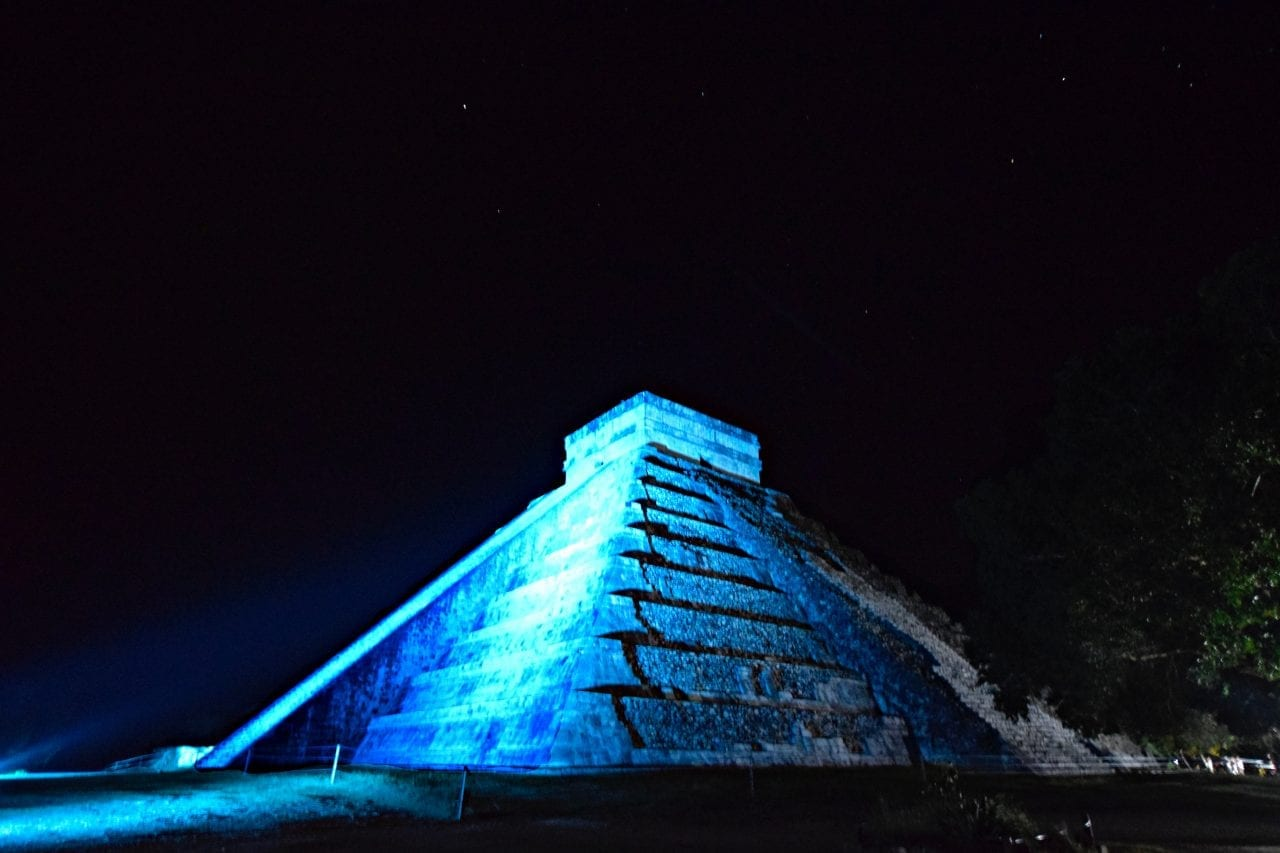 El Castillo at the Chichen Itza sound and light tour