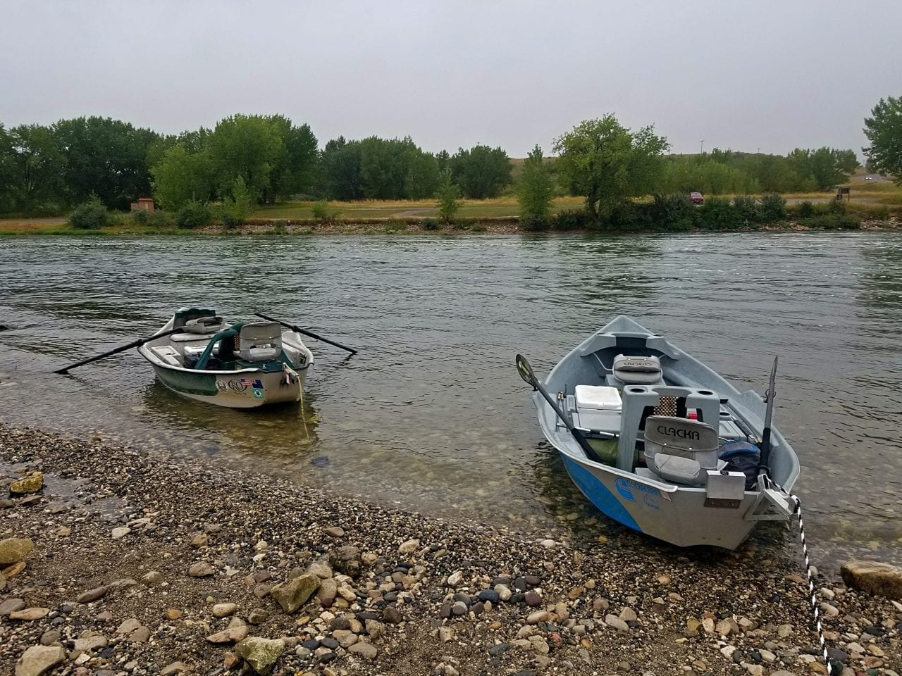 Small fishing boats on the Bighorn River