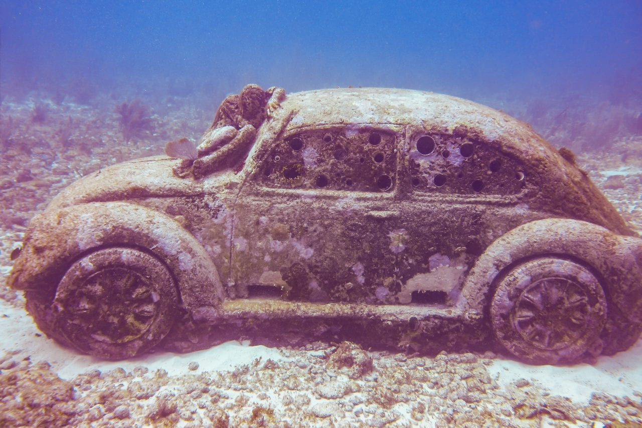 VW Bug sculpture at the Cancun Underwater Museum