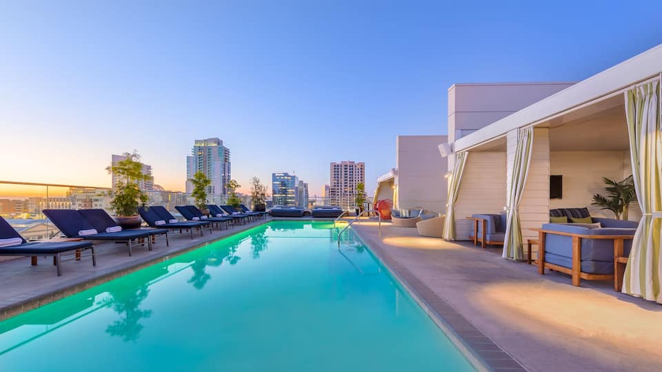 Romantic rooftop pool at the Andaz San Diego