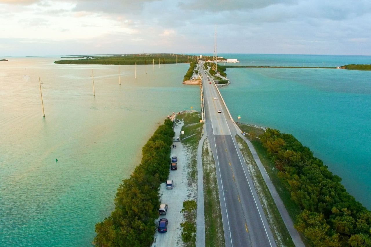 An aerial view of Boca Chica Pass, the highlight of the Stock Island Loop.