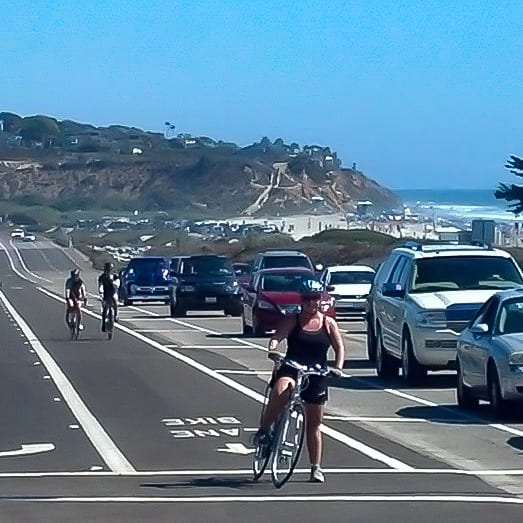 Jenn and her Trek bike on the Pacific Coast Highway
