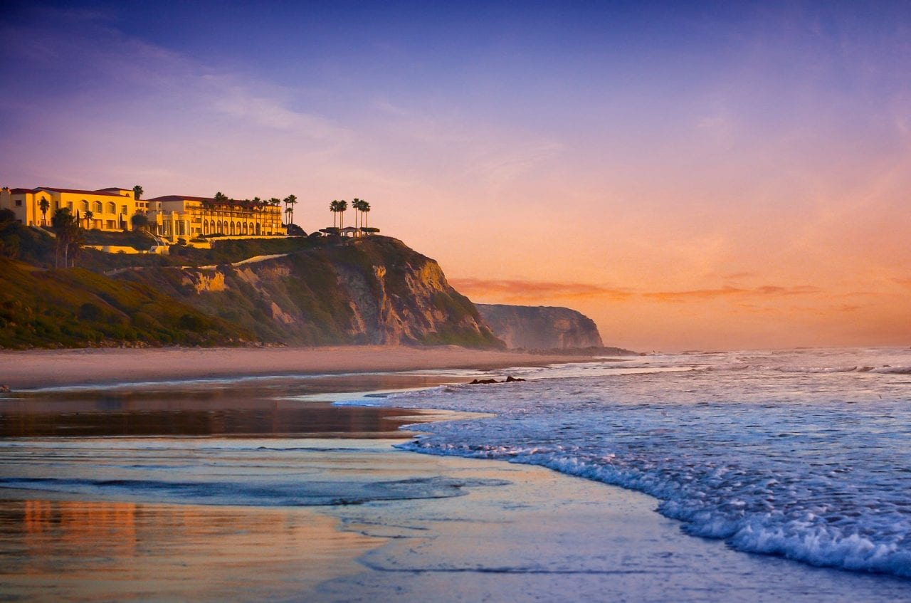 Beach and sunset at the Ritz Laguna Niguel