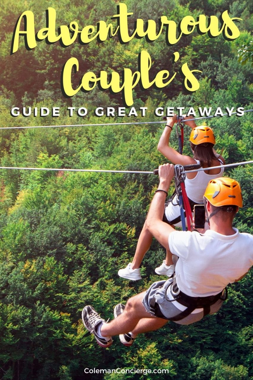 Couple on zip-line