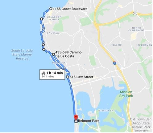 La Jolla Coastal Route Map
