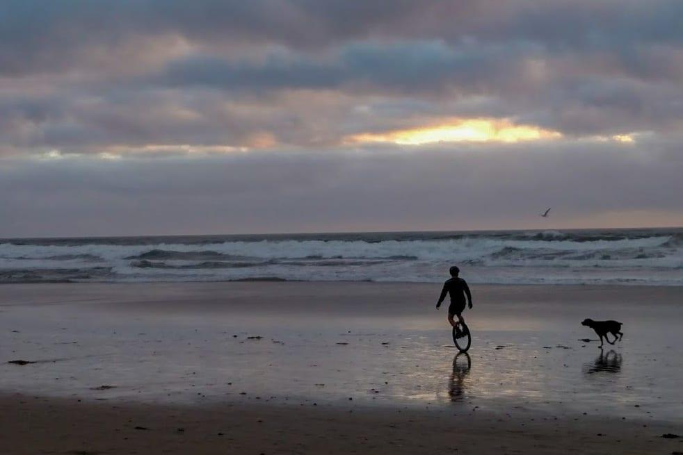 Unicycle on San Diego Beach-2
