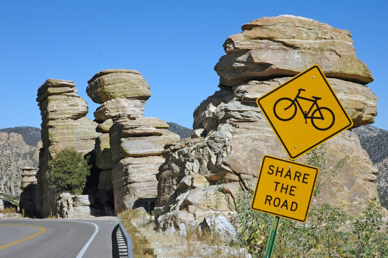 Share the road sign biking up Mt Lemmon