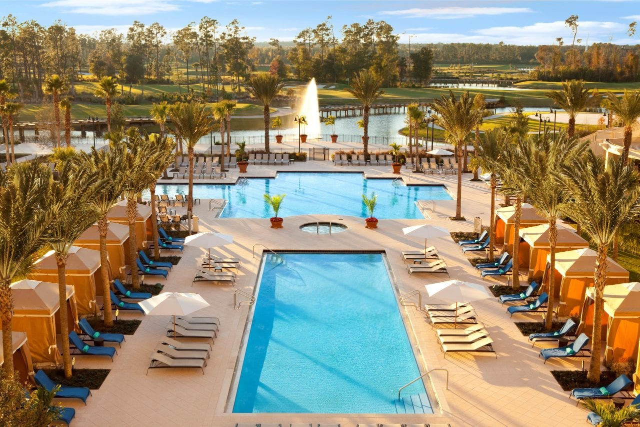 The romantic pools at the Waldorf Astoria