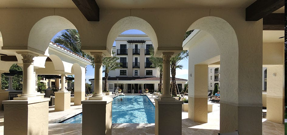 A view of the pool from the Alfond Inn