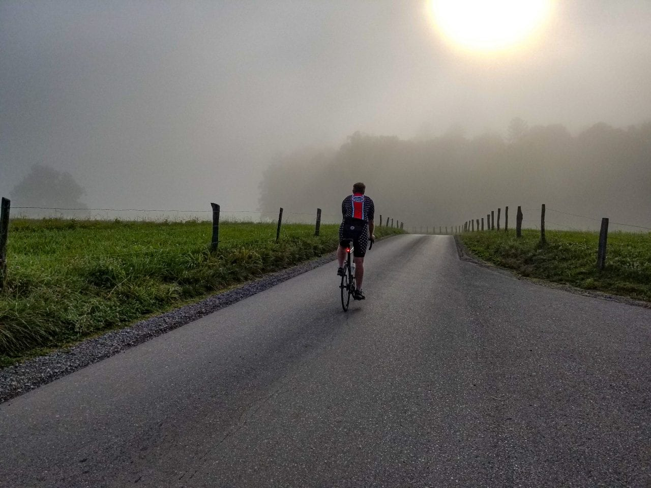 Biking Cades Cove in the early morning mists