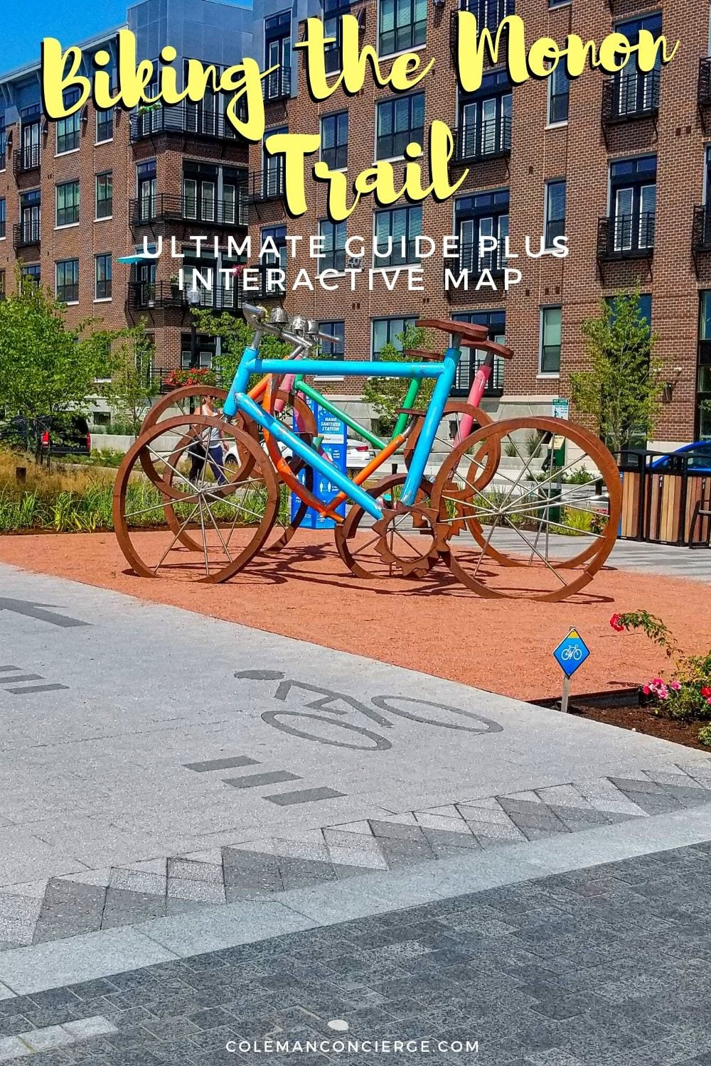 Bike sculpture on Monon Trail in Carmel Indiana