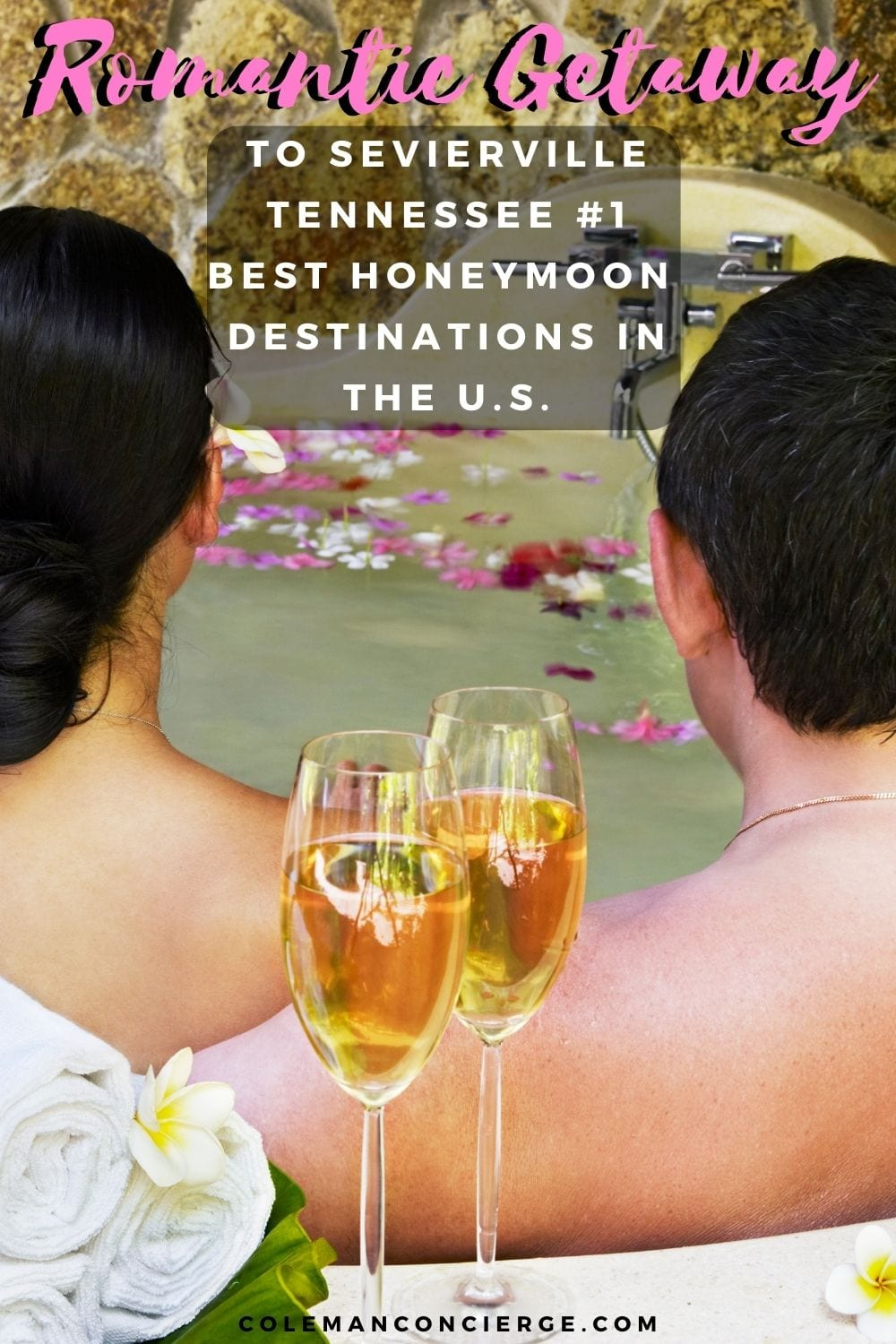 Couple in hot tub with champagne