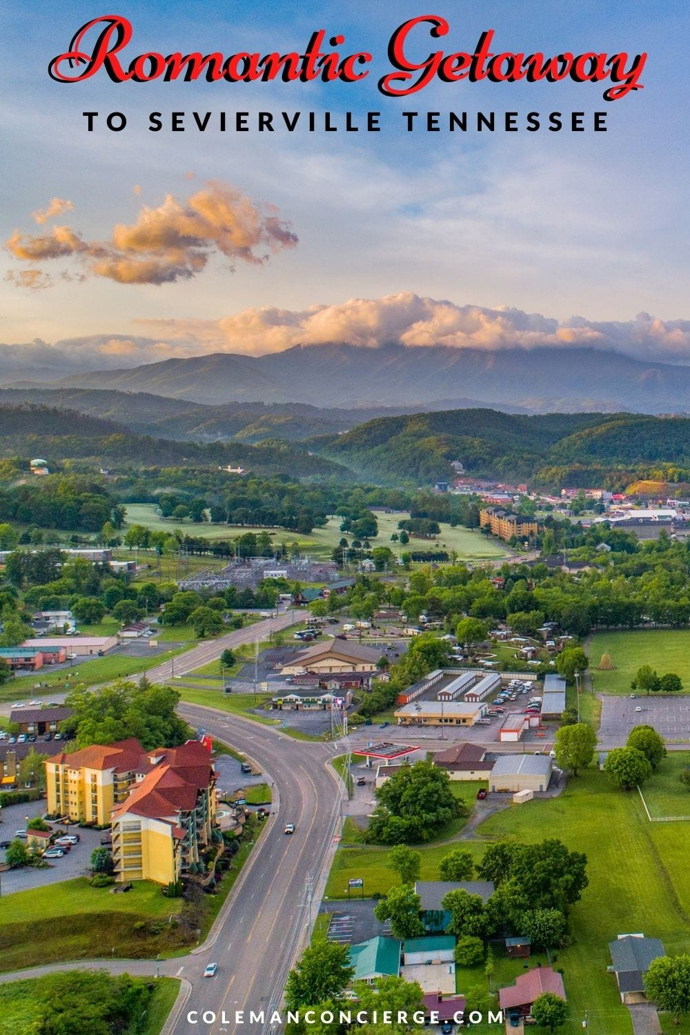 Aerial view of Sevierville