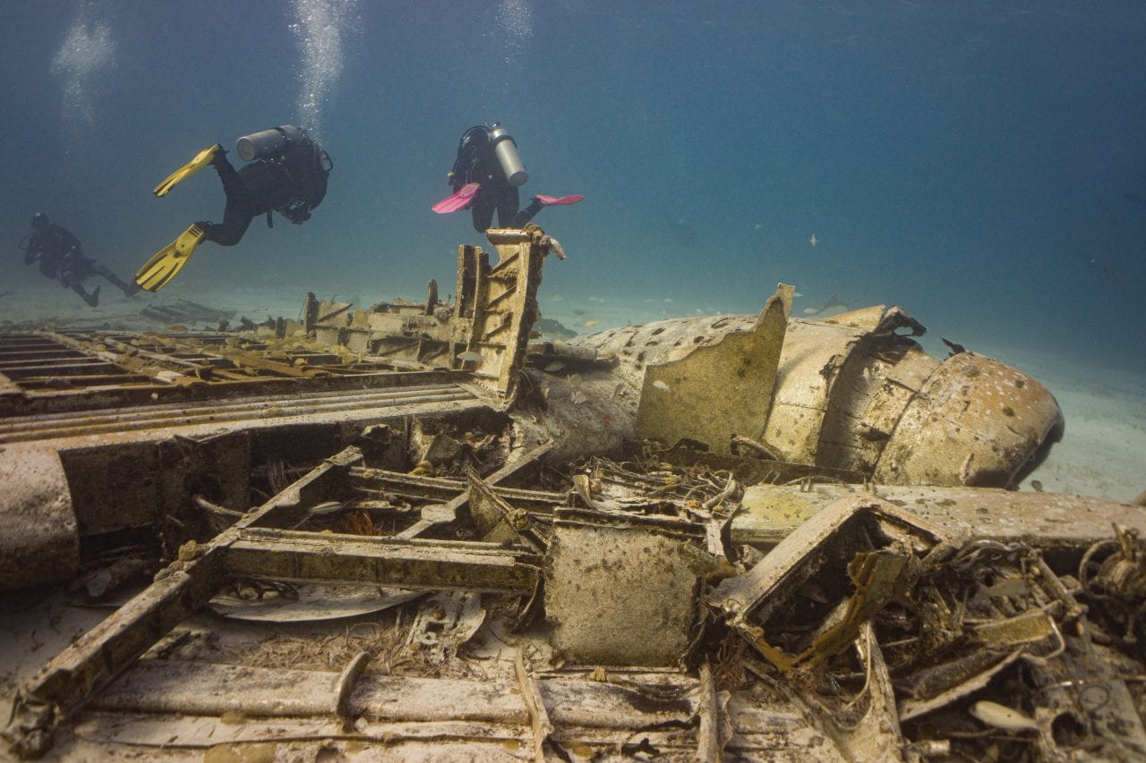Shallow plane dive in the Bahamas