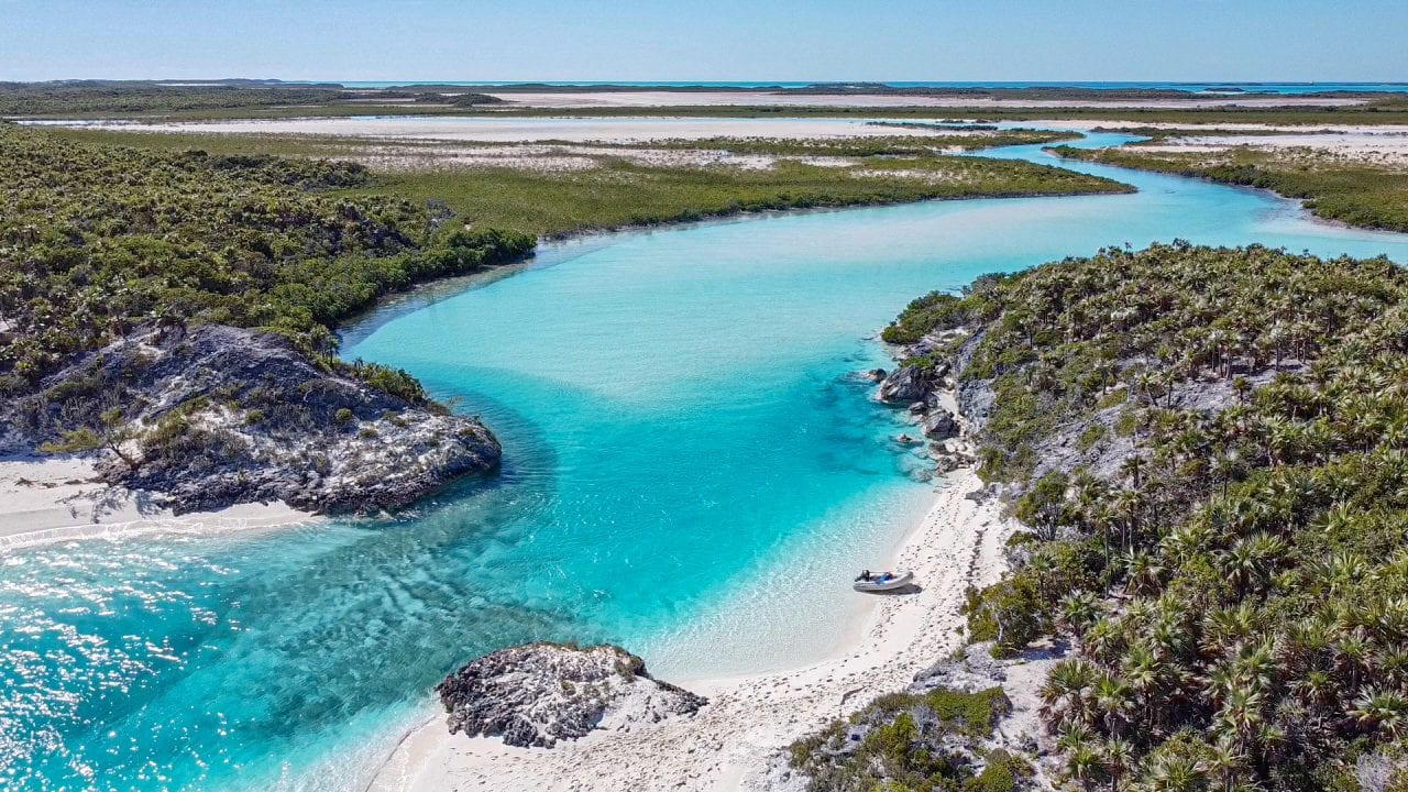 Drone shot over the lagoons of Driftwood Beach