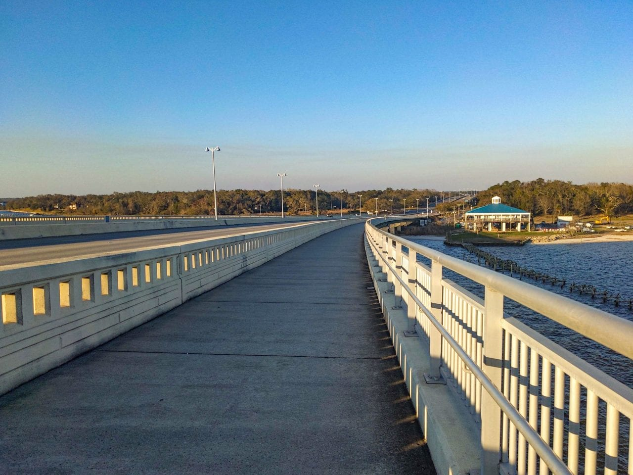 View from the bike lanes of the Biloxi Bay Bridge