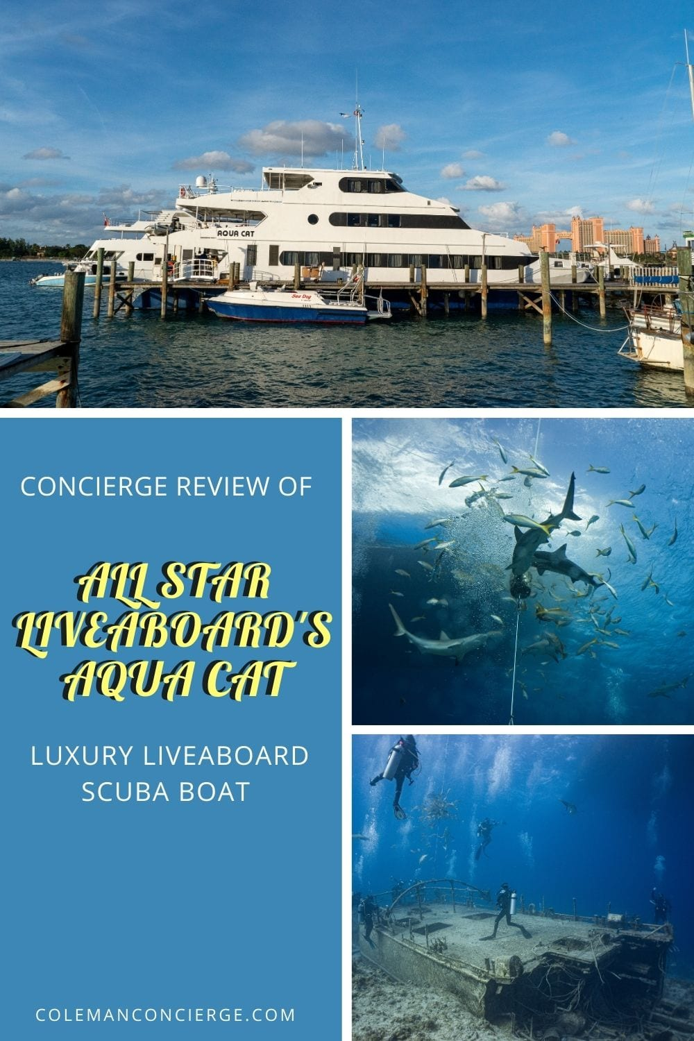 Image od Aqua Cat dive boat and 2 images of scuba diving in the Bahamas