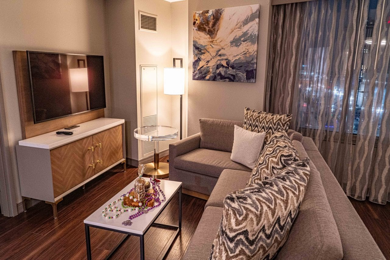 A spacious suite at the Marriott