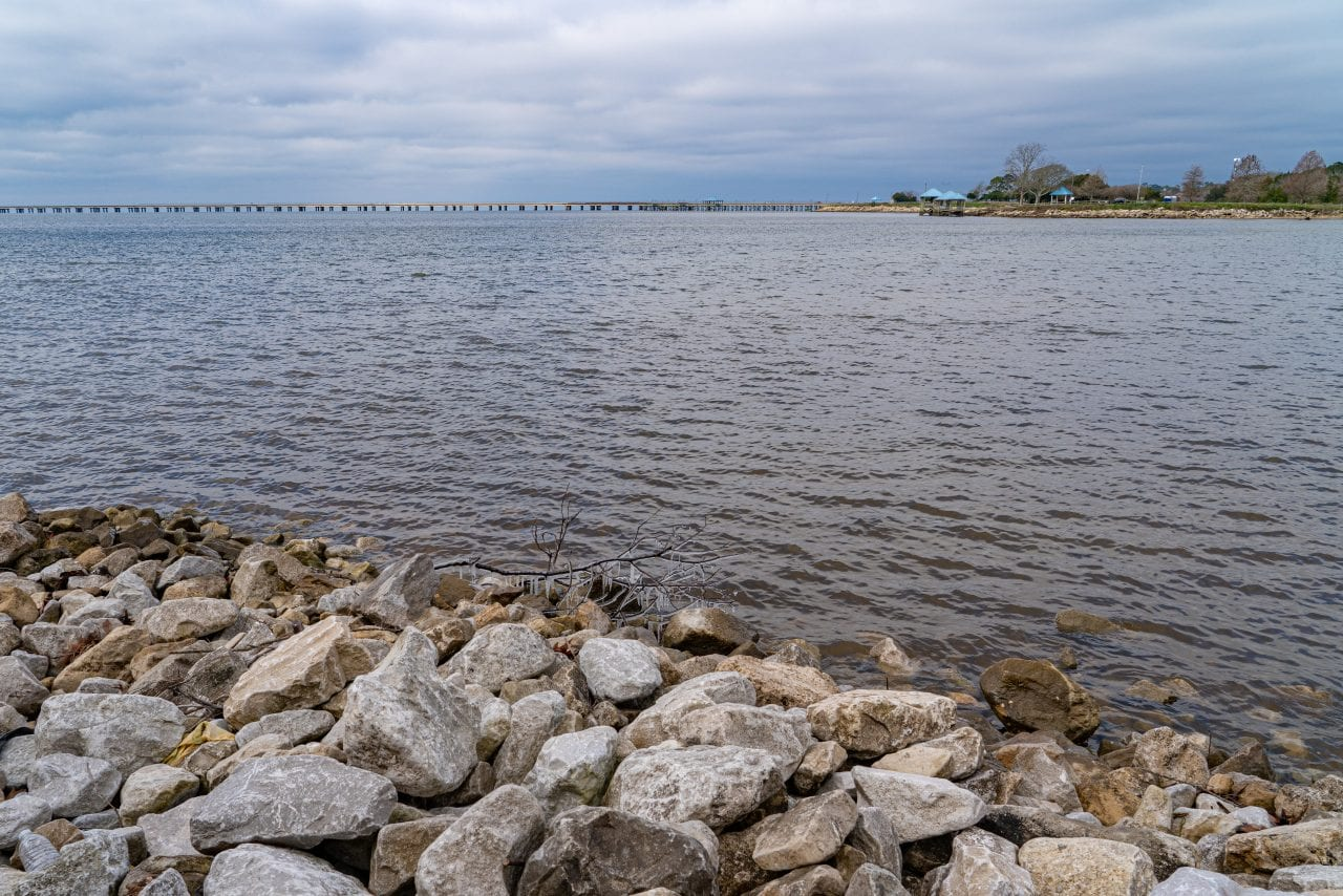 View of Lake Pontchartrain and the Causeway Bridge from the North Shore (22-miles away from Lake Side Trail, but it a similar view)