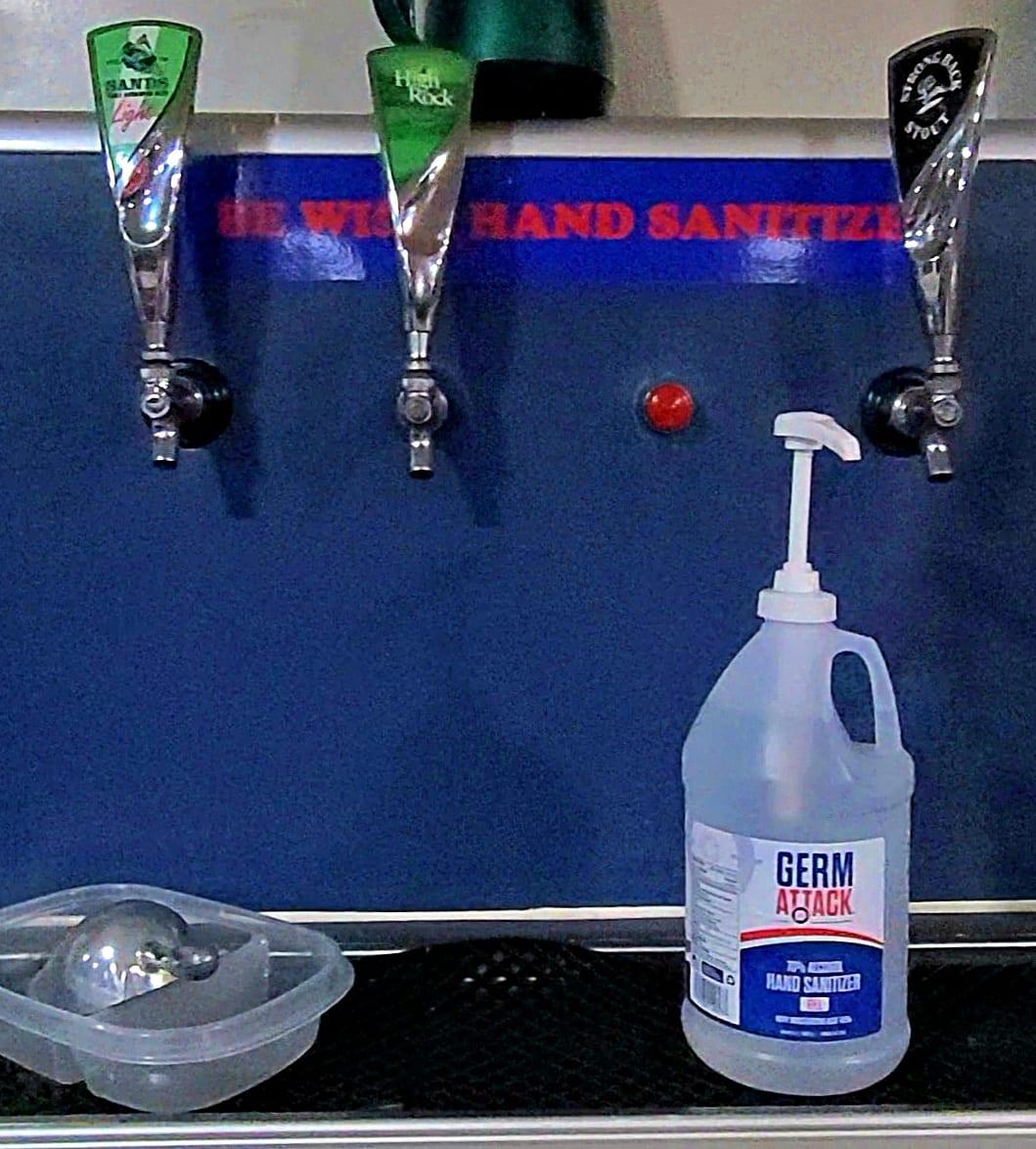Sanitizing station on the Aqua Cat