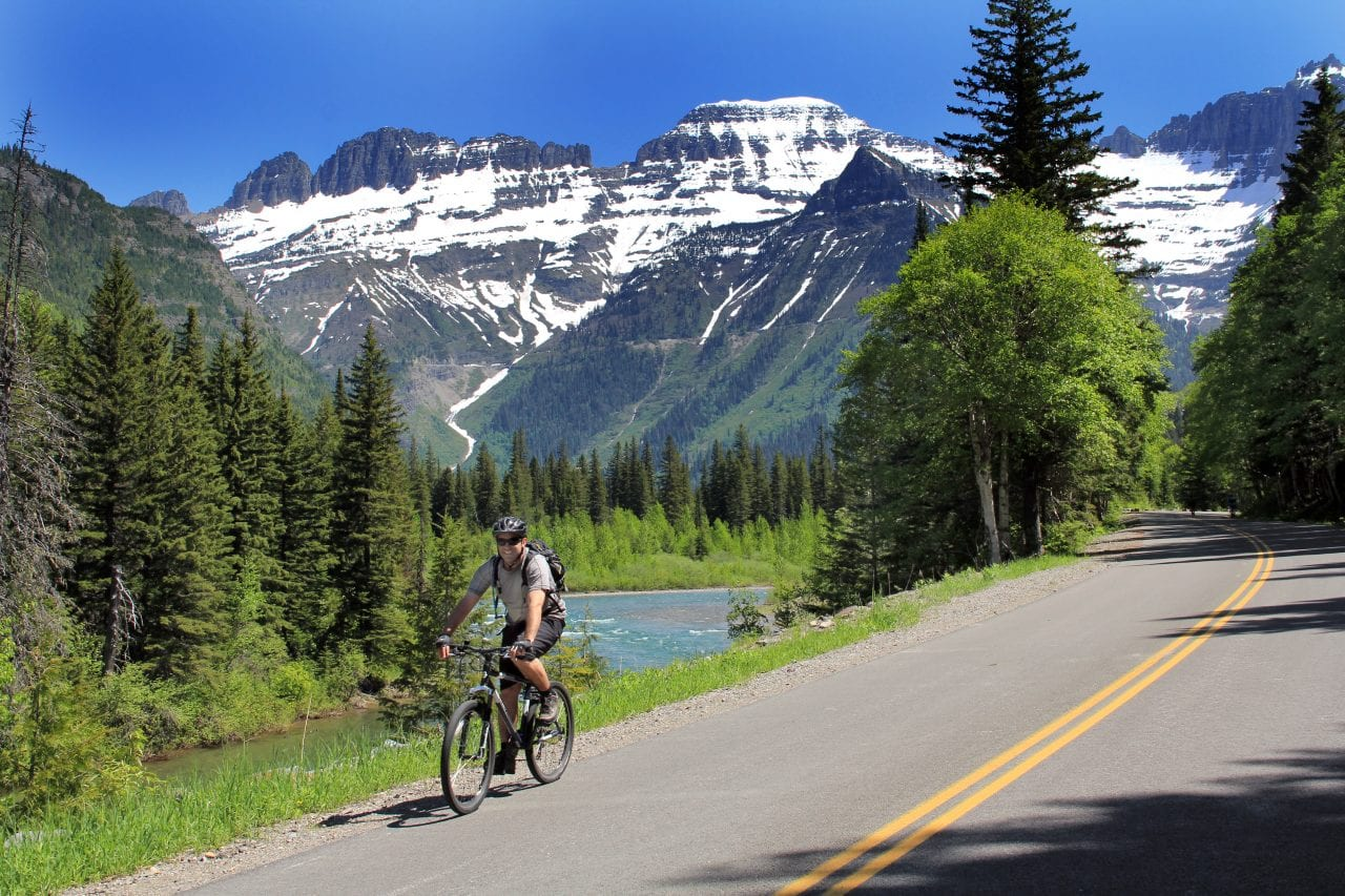 Biking Going Sun Road Glacier National Park photo via Brian Schott