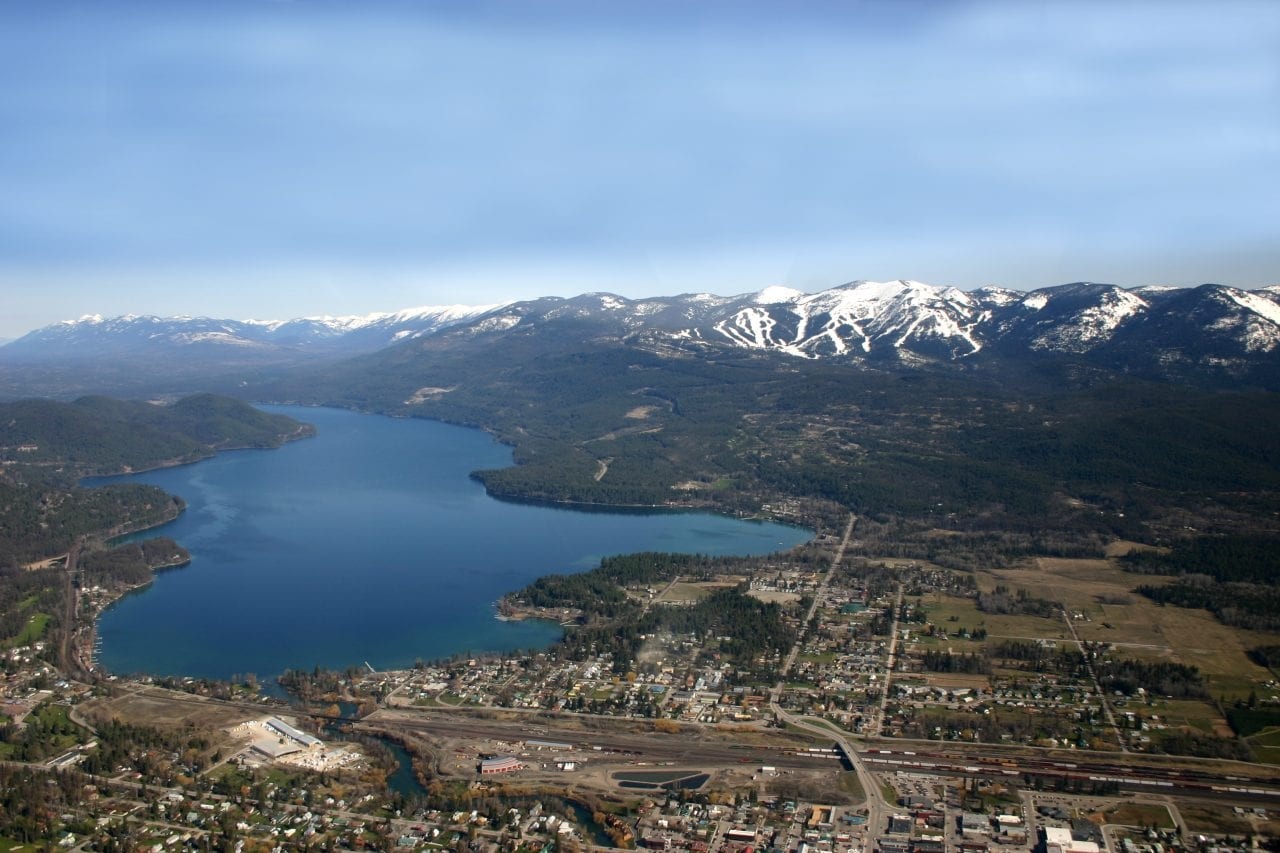 Aerial shot Whitefish in the spring.