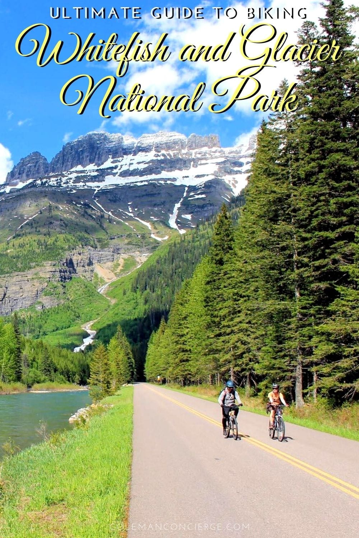 2 people biking in Glacier National Park