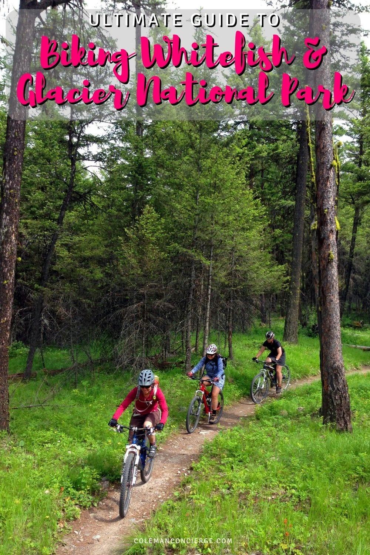 3 people mountain biking in Whitefish Montana