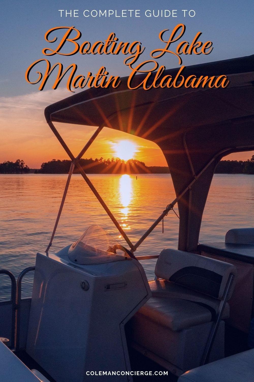 Boat on Lake Martin at sunset