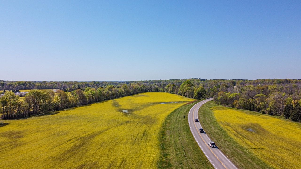 Drone shot of the Natchez Trace