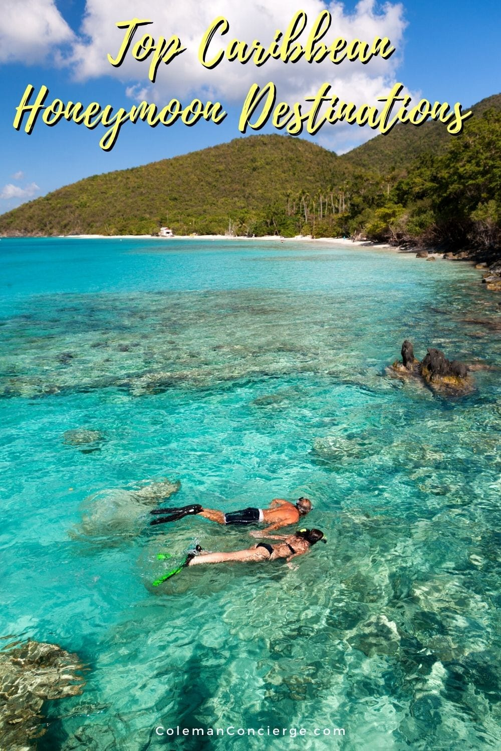 Couple snorkeling in the Caribbean