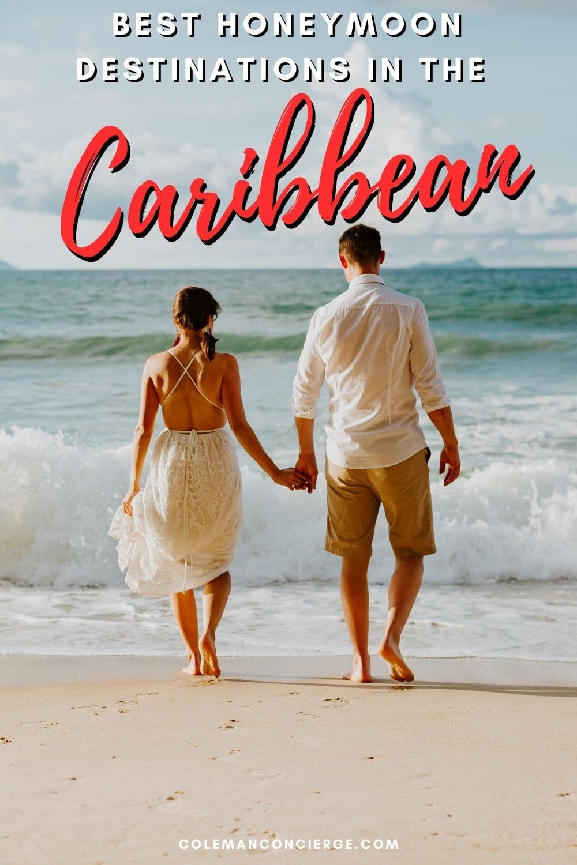 Couple holding hands on a caribbean beach