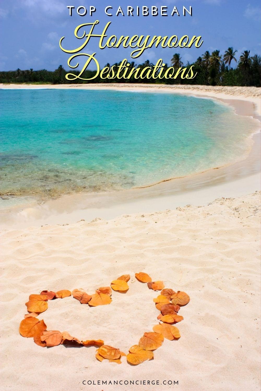 caribbean beach with a rose petal heart on it