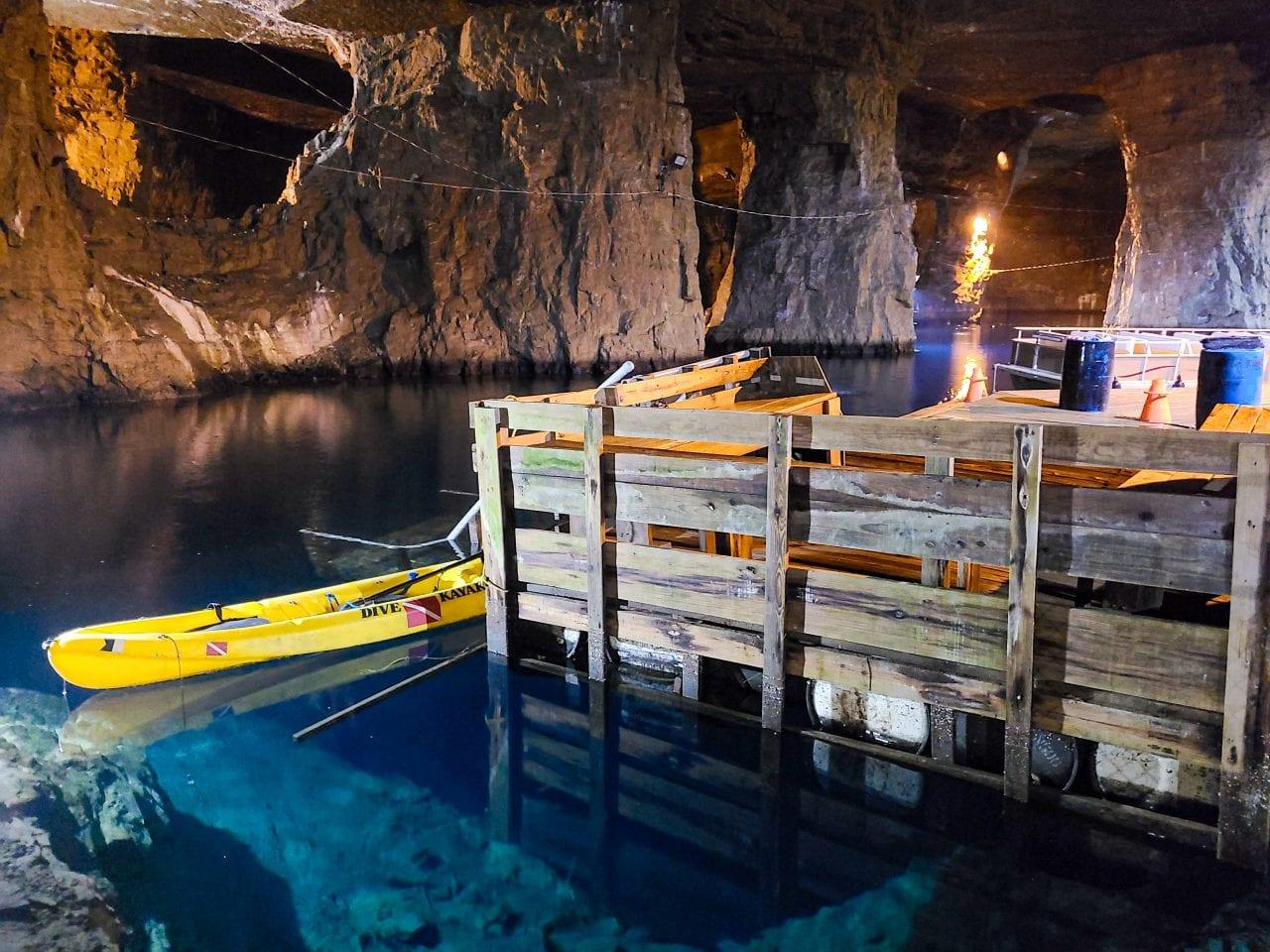 Docks at the underground lake