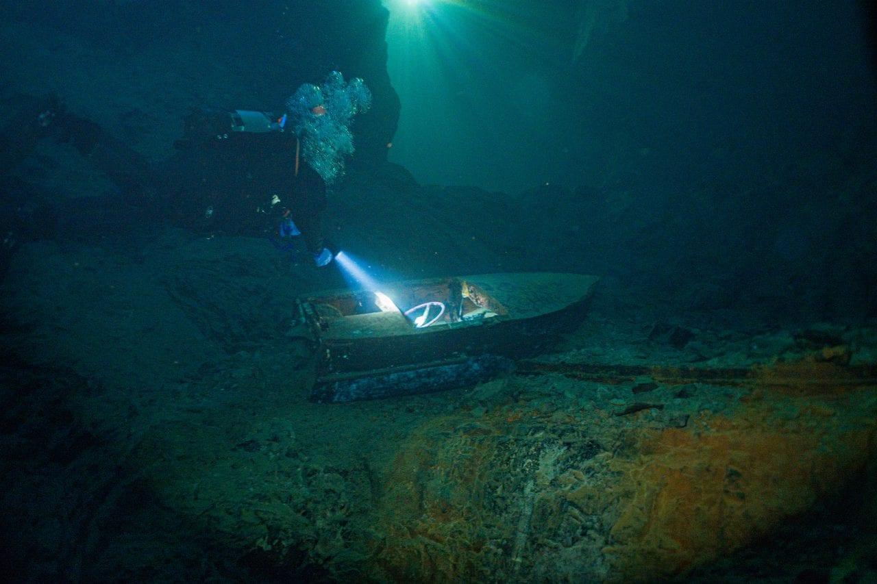 Sunken boat in the Bonne Terre Mine
