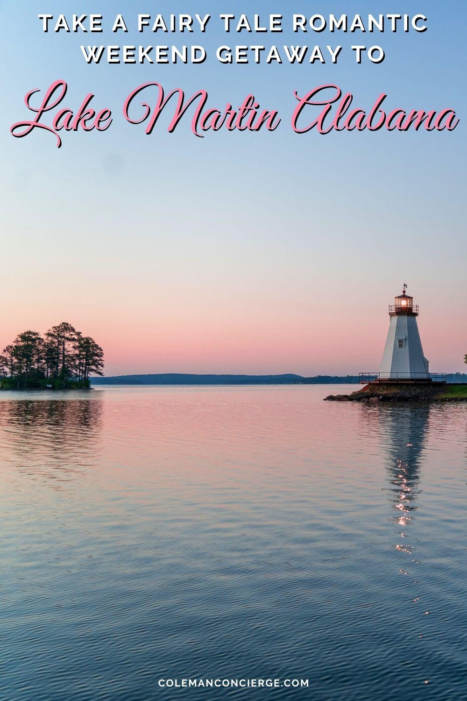 Children's Harbor lighthouse Lake Martin at sunset