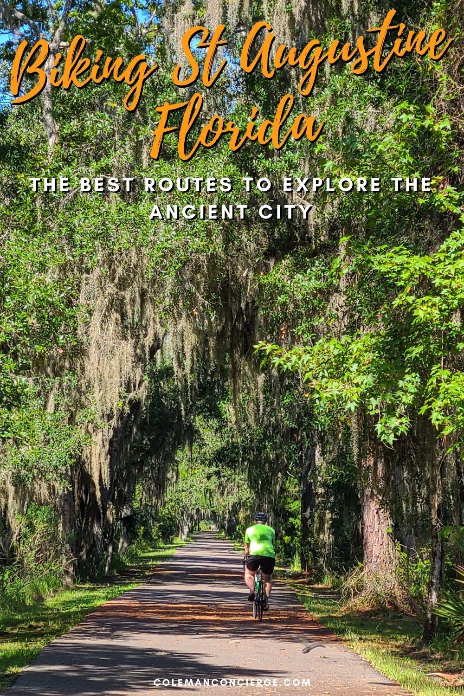 Biking on a bike trail in St Augustine Florida