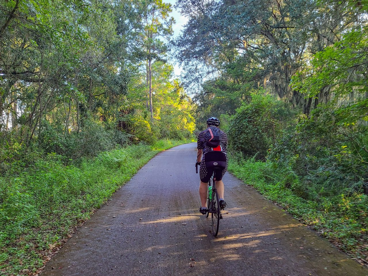 Palatka to St Augustine Trail- Ed riding a shady section of trail