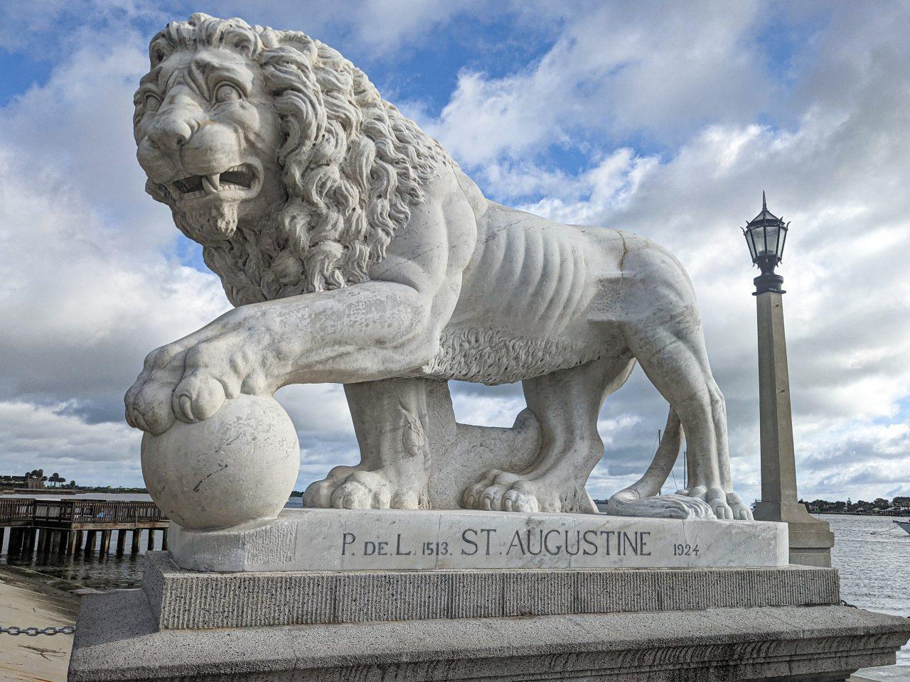 St Augustine biking-Lion Statue